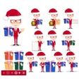 Santa man with gifts set vector