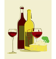 Red wine and cheese vector