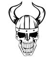 Skull in viking helmet vector