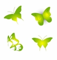 Set of green butterfly icon symbol vector