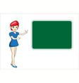 Beautiful teacher woman in front of chalkboard vector