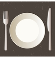 Place setting with plate knife and fork vector