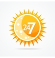 Sun icon 24 hours and 7 days open sign vector