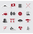 Japanese theme stickers set eps10 vector