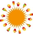Sun of ice creams at summer time vector