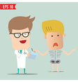 Cartoon doctor analyse x-ray a report - - ep vector