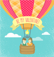 Boy and girl in love in a hot air balloon vector