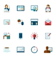 Freelance icon flat set vector