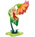 A fairy floating near the giant flower vector
