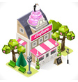 Pastry shop city building 3d isometric vector