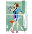Woman ironing vector