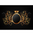 Floral frame with heraldic crown - vector