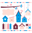 Beautiful colorful bird houses set vector