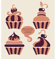 Funny cartoon cupcakes collection vector