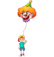 A boy holding a clown balloon vector