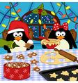 Penguins bake christmas cookies vector