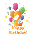 Happy birthday two years no background vector