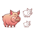 Cartoon pink pig vector
