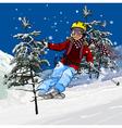 Skier skiing vector