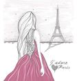Girl in paris looks at eiffel tower vector