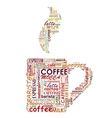 Cup of coffe with tags cloud vector