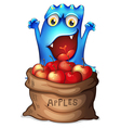 A monster and a sack of apples vector