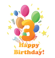 Happy birthday three years no background vector
