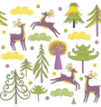Deer forest wallpaper vector