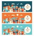 Seaside city in day and night landscape vector