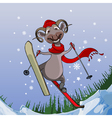 Smiling sheep flies with snowy mountains on skis vector