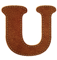 Leather textured letter u vector