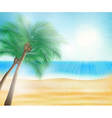 Summer sea beach with palm trees vector