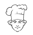 Smiling chef with a tall toque vector