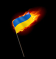 Fiery flag of ukraine revolution sign vector