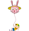 A playful young boy holding a balloon vector