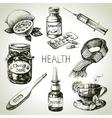 Sketch healthy and medical set hand drawn vector