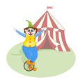 Cheerful clown unicycling vector
