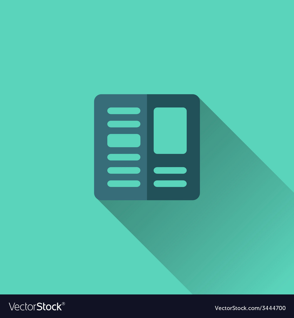 Blue newspaper icon flat design vector | Price: 1 Credit (USD $1)