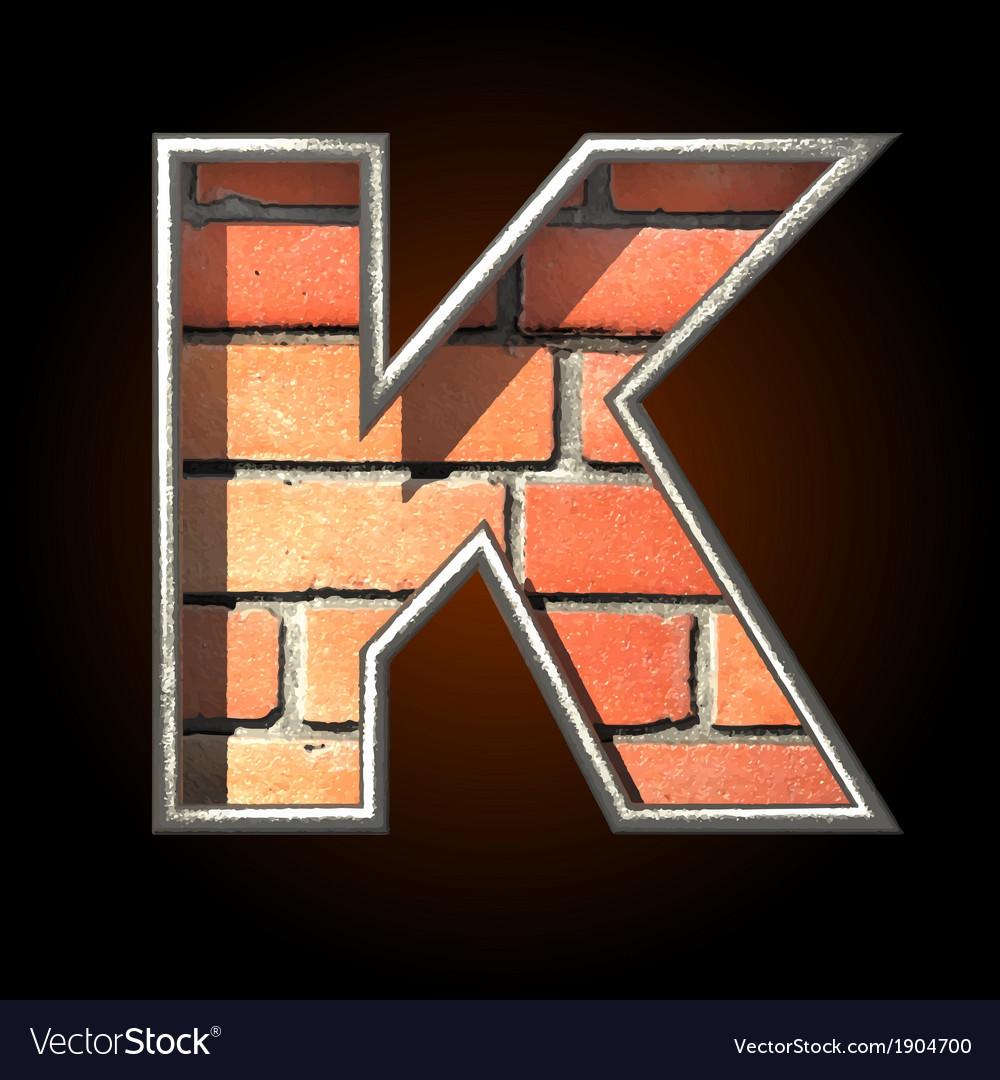 Brick cutted figure k vector | Price: 1 Credit (USD $1)