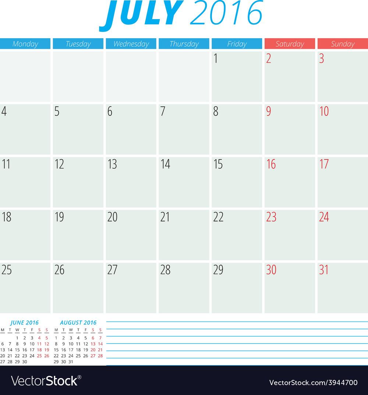Calendar 2016 flat design template july week vector   Price: 1 Credit (USD $1)