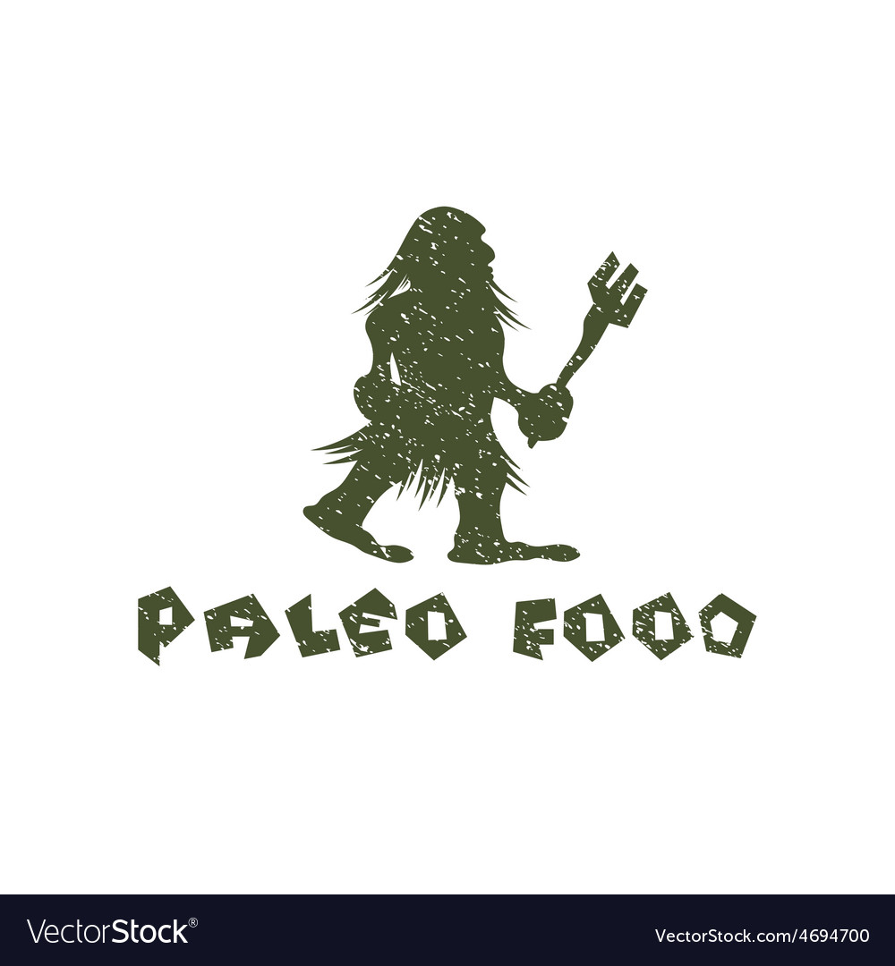 Grunge paleo food caveman design template vector | Price: 1 Credit (USD $1)