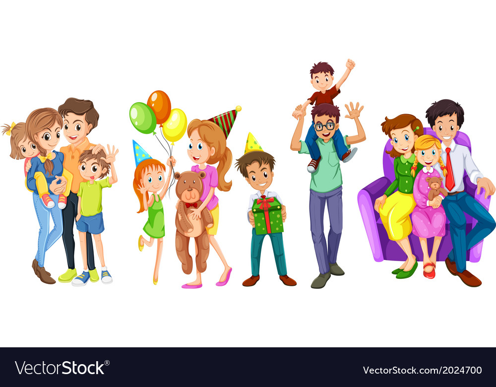 Happy families vector | Price: 3 Credit (USD $3)