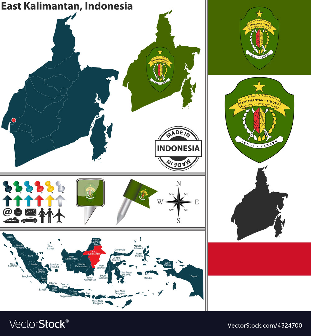 Map of east kalimantan vector | Price: 1 Credit (USD $1)