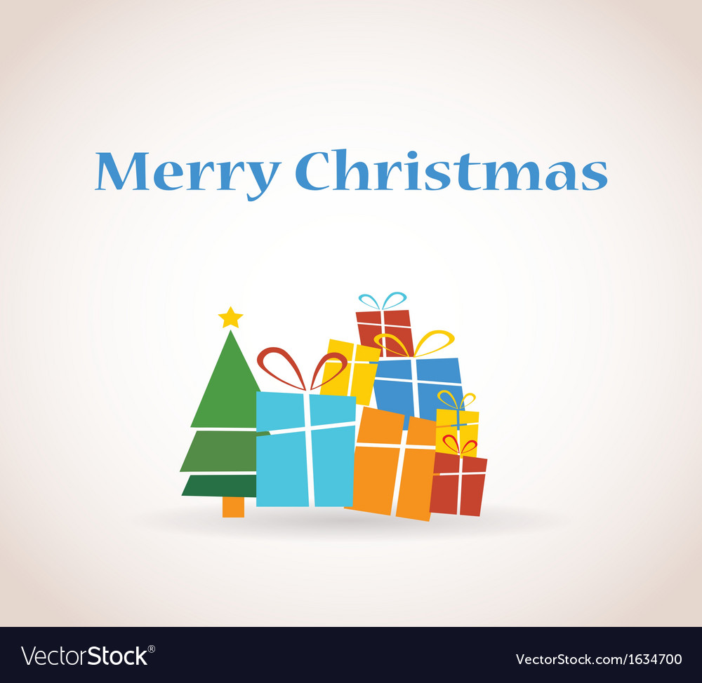 Pile of presents and christmas tree vector | Price: 1 Credit (USD $1)