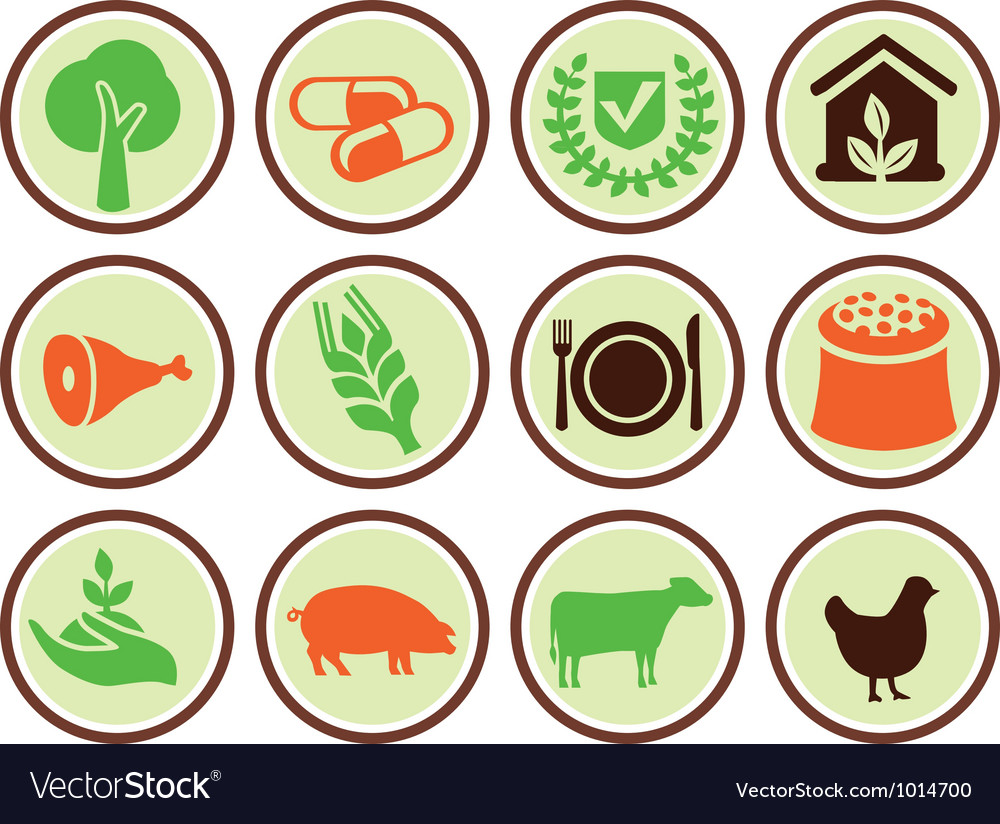 Set of agricultural icons vector | Price: 1 Credit (USD $1)