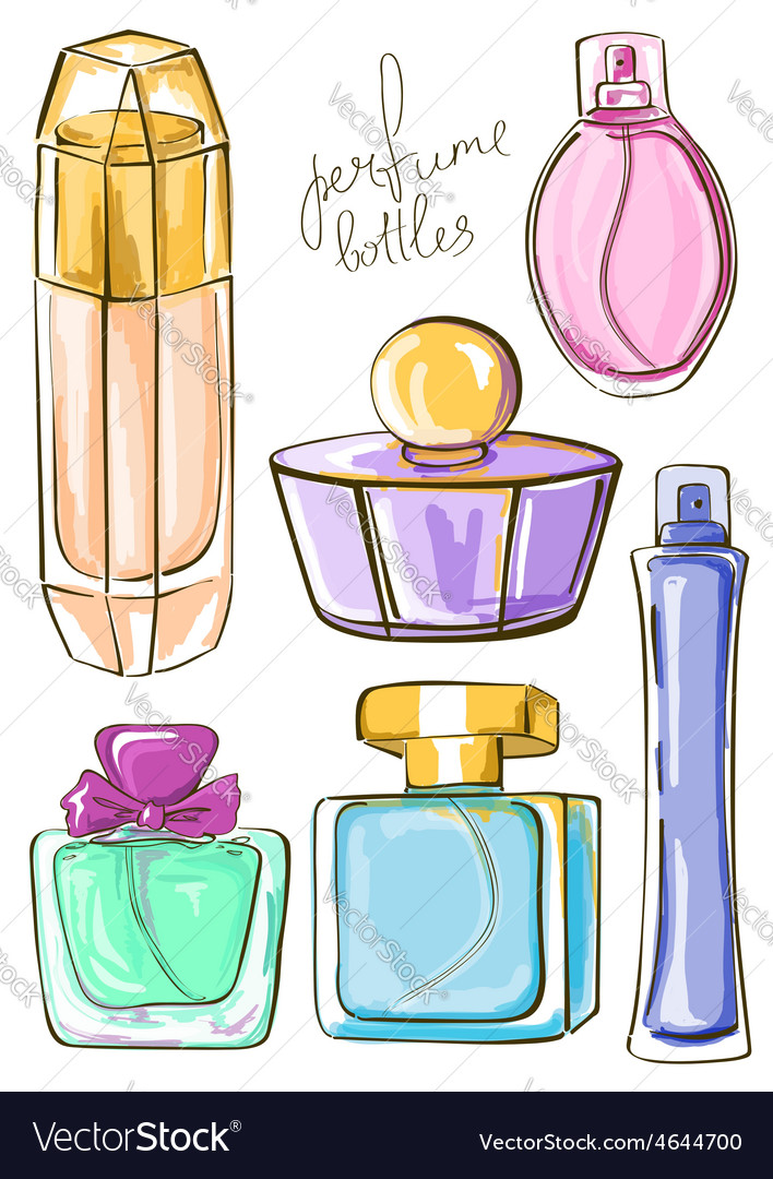 Set of isolated perfume bottles vector | Price: 1 Credit (USD $1)
