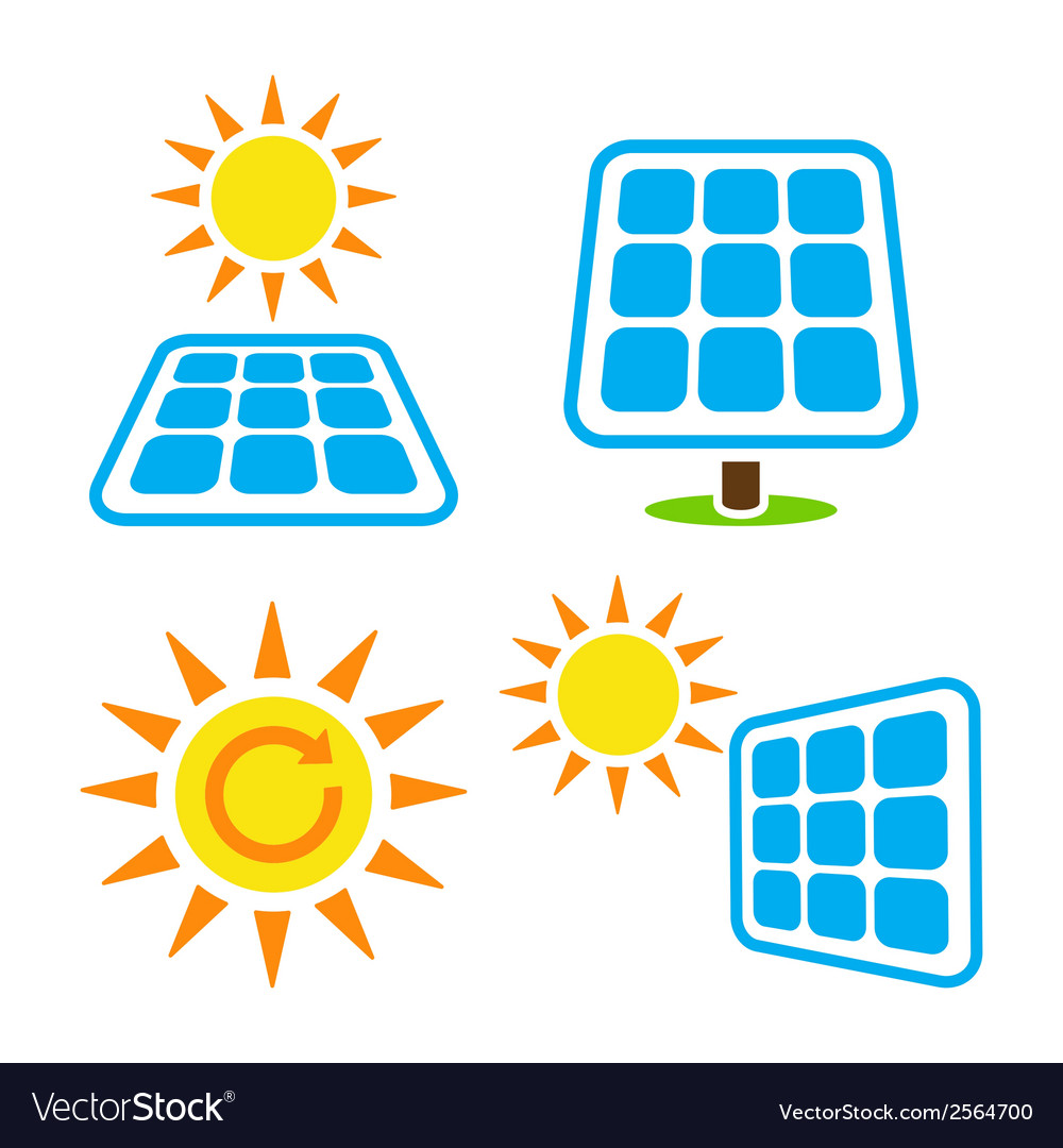 Solar panel - eco eergy icons set vector | Price: 1 Credit (USD $1)