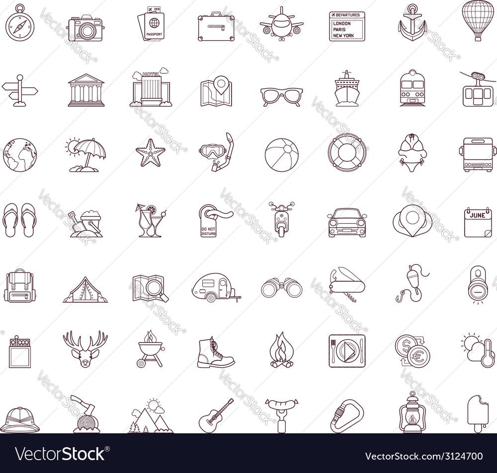 Travel icon set vector | Price: 1 Credit (USD $1)