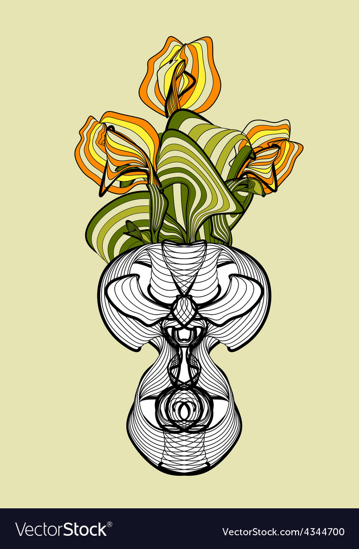 Vase with spring flowers tulips vector | Price: 1 Credit (USD $1)