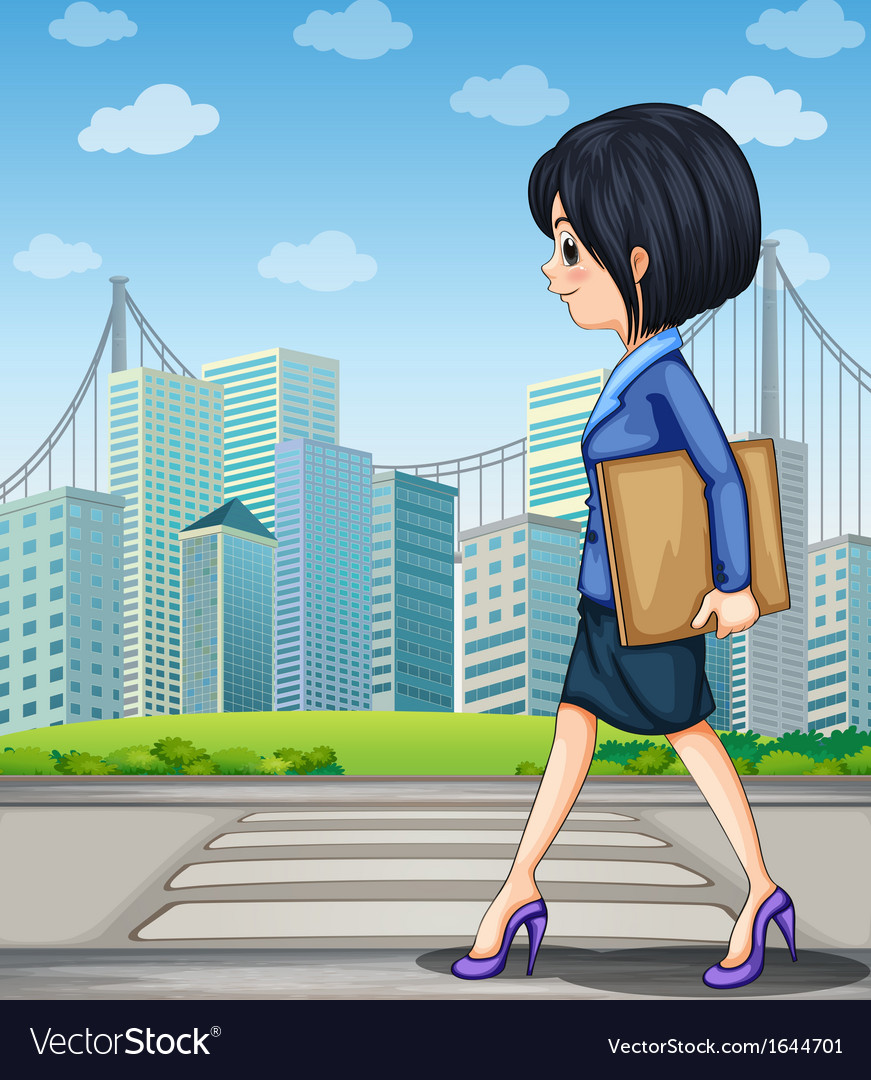 A woman walking at the street near the pedestrian vector | Price: 3 Credit (USD $3)